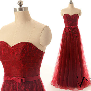 Sweetheart Strapless A Line Wedding Party Dress Elegant Long Burgundy Red Wine Lace Bridesmaid Dresses 2014 Lace Prom Dresses