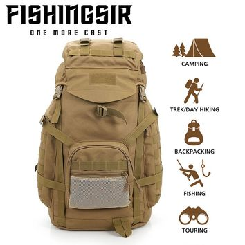 Outdoor Backpack 60L Waterproof Daypack Tactical Military Rucksacks for Cycling Camping Travelling Hunting Fishing Bag Tackle