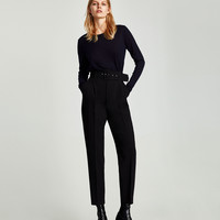 CREPE TROUSERS WITH BELT DETAILS