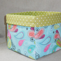 Lovely Aqua and Green Peacock Inspired Fabric Basket