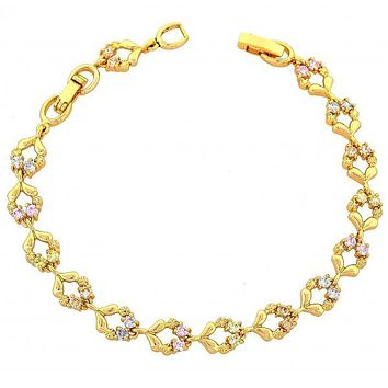 Gold Layered 03.60.0018 Fancy Bracelet, Flower and Leaf Design, with Multicolor Cubic Zirconia, Polished Finish, Gold Tone