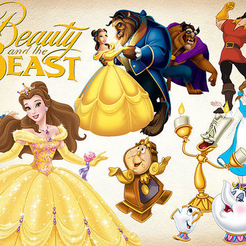 57 Beauty and The Beast Clipart PNG Digital Image Beauty and The Beast Belle Clip Art scrapbook Invitations INSTANT DOWNLOAD 300dpi