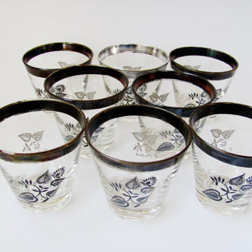 Georges Briard Glasses Silver Damask LoBall Cocktail
