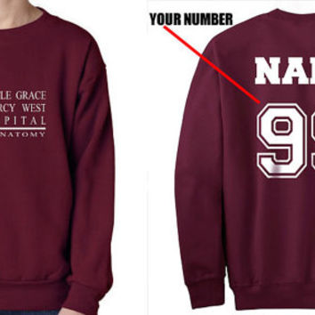 Custom back Seattle Grace Mercy West Hospital Maroon Crew neck Sweatshirt