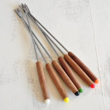 Vintage Rosewood Fondue Forks, Stainless Steel Forks, Set of Six, Color Tipped Handles