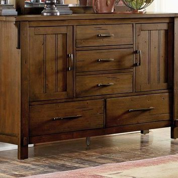 Wooden Dresser With 5 Drawers And 2 Cabinets, Oak Brown