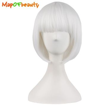 MapofBeauty cosplay bob wig white 30cm 12 inch Short Straight Synthetic hair natural 100% High Temperature Fiber Heat Resistant