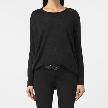 ALLSAINTS US: Womens New Wave Sweater (Cinder Black Marl)