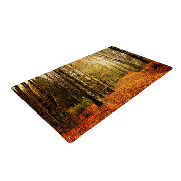 "Sylvia Cook ""Autumn Leaves"" Rustic Woven Area Rug"