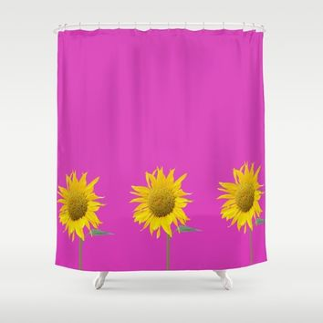 sunflower and pink Shower Curtain by anabprego