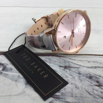 Ted Baker London Genuine Leather Floral Rose Gold Watch (New with box)