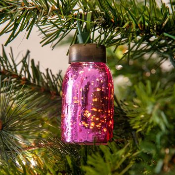 Set of 6 Glass Mini Mason Jar Ornaments - Mercury Pink