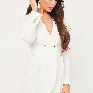 erin white longline blazer dress