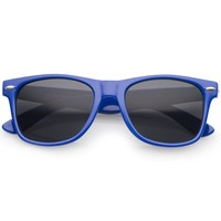 Retro Wide Temples Neutral-Colored Lens Horn Rimmed Sunglasses 55mm