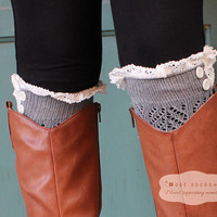 Women's Knit Boot Socks, Women's Knit Legwarmers, Women's Lace Button Boot Socks, Knit Boot Cuffs, Boot Socks, Knit Legwarmers, Boot Cuff
