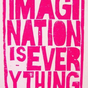 LINOCUT PRINT  Imagination is Everything by thebigharumph on Etsy