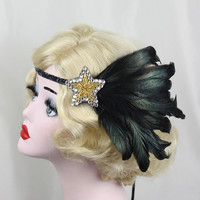 Gold Star, Black Feather Headband, Feather Fascinator, 1920s Flapper, Great Gatsby Headpiece, Costume Headpiece, Showgirl Hair Accessory
