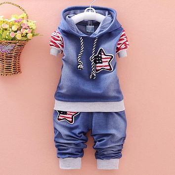 Trendy New 2016 Fashion Boy Clothing Cotton Long-Sleeved Denim Jacket + Pants Baby Clothing 2 Pieces Of Clothing Baby Clothing Suit AT_94_13