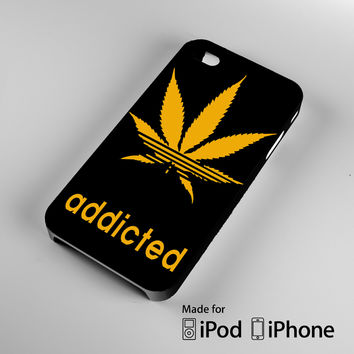 Addicted Cannabis Leaf Weed Dope Adi Logo Quirky A1607 iPhone 4S 5S 5C 6 6Plus, iPod 4 5, LG G2 G3, Sony Z2 Case