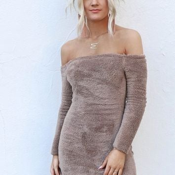 Can't Wait Brown Faux Fur Off Shoulder Dress