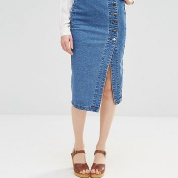 Lost Ink Denim Pencil Skirt With Side Button Detail at asos.com