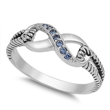 Sterling Silver Blue Sapphire CZ Infinity Ring with Cable Band Size 4-10