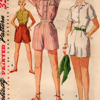 Vintage Simplicity 4681 Blouse and Pleated Shorts Sewing Pattern Junior Size 13