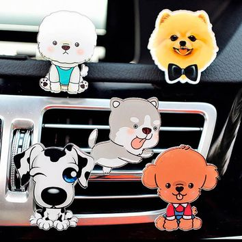 Cartoon Cute Puppy Pet Dog Car Air Conditioner Outlet Decoration Perfume Clip Air Freshener Lovely  Automobile Tuyere Fragrance