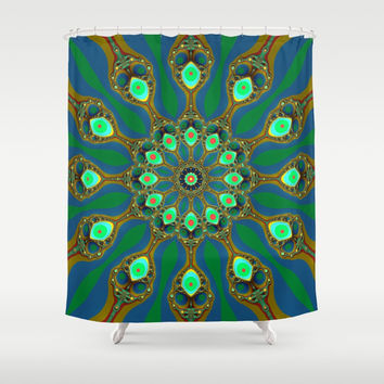 Fractal jewel mandala Shower Curtain by Natalia Bykova