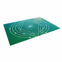 "Matt Eklund ""Atlantis"" Teal Geometric Indoor / Outdoor Floor Mat"