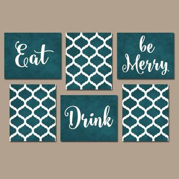 EAT DRINK be Merry Wall Art, Kitchen CANVAS or Prints Teal Kitchen Decor, Teal Dining Room Pictures, Home Decor Set of 6 Kitchen Pictures