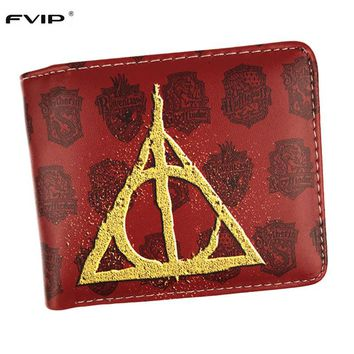 FVIP Harry Potter Gryffindor Wallet Small Zipper Pocket Men Wallet Coin Bag Credit Card Holder Hogwarts  Badge Designer Wallet