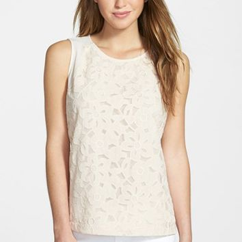 Women's Gibson Sleeveless Embroidered Mesh Front Top