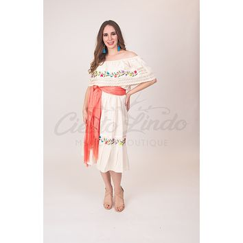 Mexican Campesina Dress Cream