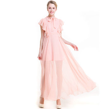 Beach Chiffon Organza Butterfly Sleeve Bow Tie Long Pleated Preppy Style