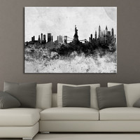 Watercolor Splash New York City Skyline Art Canvas Print - Black White Watercolor New York Canvas Print