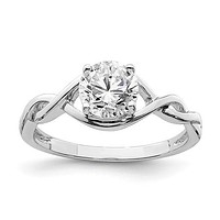 Sterling Silver 6.5mm Round CZ Twisted Promise Ring