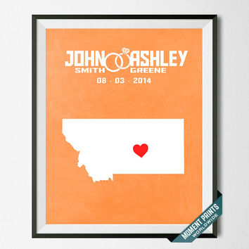 Anniversary, Print, Montana, Wedding, Customized, Couple, Personalized, Gift, Map, Custom, Wall Art, Home Decor, Marriage, Love [NO 25]