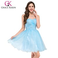 Grace Karin Sexy Light Blue Short Ball Gown  Formal Dress Lace Up