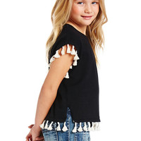 Autumn Cashmere Kids Short Sleeve Tassel Sweater in Black & Cream | REVOLVE