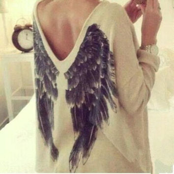 Sexy Women V-Neck Loose Oversized Angel Wings Printed Casual Blouse Tops New = 1920319492