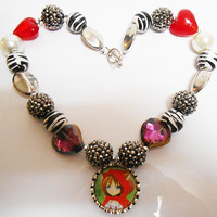 Once Upon A time Fairytale Little Red Riding Hood Bubblegum Chunky Necklace
