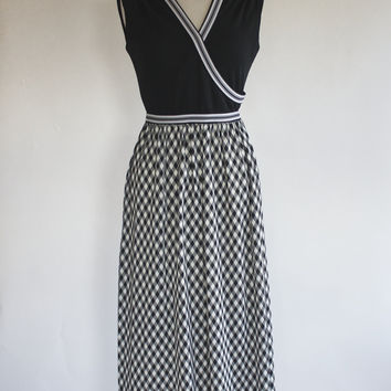 60s Polyester Maxi Dress / 60s Hostess Dress / 60s Mad Men Dress