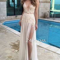 Custom made A-line lace long prom dress, formal dress