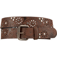 Perforated Flower Belt Brown  In Sizes