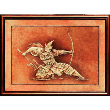 shooter, wall hanging leather,original work,3D Hand carved leather,gift for husband, wall art