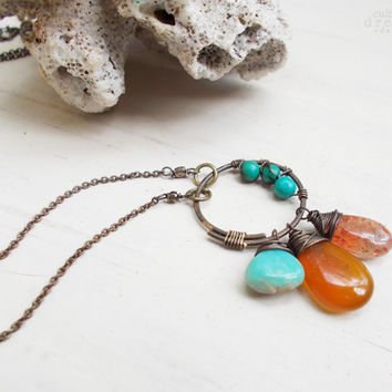 Peruvian opal, sunstone, & amber chalcedony briolette necklace, stabilized turquoise, hammered brass circle, stone trio, artisan jewelry