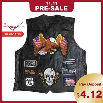 Trendy New Motorcycle Jacket Genuine Leather Vest Mens Punk Retro Classic Style Motorcycle Jacket Biker Club Casual Vest Moto Clothing AT_94_13
