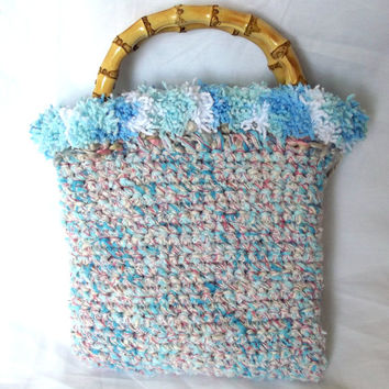 Handmade Crochet Small Hand Bag, Aqua, Pink, Flowers, Embellished, Beach, Bridal, Wedding, Cottage Chic Chic