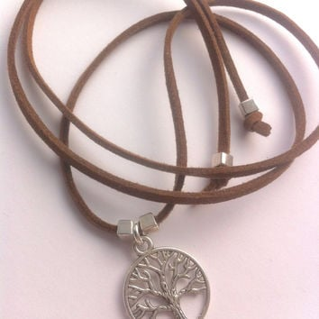 Tree of life suede necklace, wrap bracelet or anklet. Family tree necklace, universe necklace, inspirational necklace